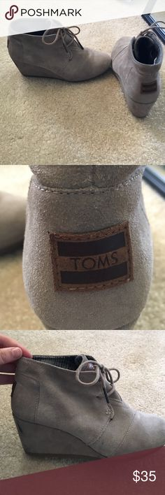 TOMS booties/wedges grey booties with a 2 1/2 wedge. lace up. has a couple minor scuff marks but not bad and certainly in good condition TOMS Shoes Ankle Boots & Booties