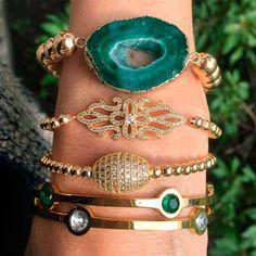 Set By Vila Veloni Beautiful And Delicate Green Bracelets