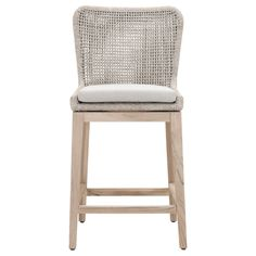 While this counter-height stool is made for outdoor use, we love the contemporary look for indoor seating as well! Tapered teak legs and a mesh-woven rope seat add cool, natural textures to any space.