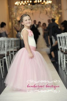 dusty rose tutu pink dress flower girl dress by BambaroosBoutique, $215.00