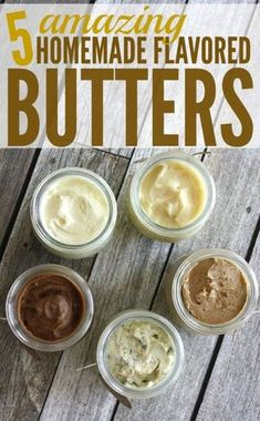 I love these 5 amazing homemade flavored butter recipes! Homemade bread and a jar of homemade butter would be a great gift to give for any occasion. Free printables included! Recipes for -Salted butter, honey butter, garlic butter, pumpkin spice butter & brown sugar cinnamon honey butter.-happymoneysaver.com