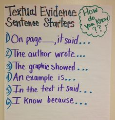 Common Core is all about evidence! Standard One for all grades is all about showing the evidence! This is a great Anchor Chart for Textual Evidence Sentence Starters- I would modify the language required for upper elementary and middle school students. Teaching Language Arts, Teaching Writing, Student Teaching, Teaching Themes, Teaching Character, Evidence Anchor Chart, Text Evidence, Citing Evidence, Middle School Ela