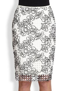 Floral Embroidery Pencil Skirt - Zoom - Saks Fifth Avenue Mobile