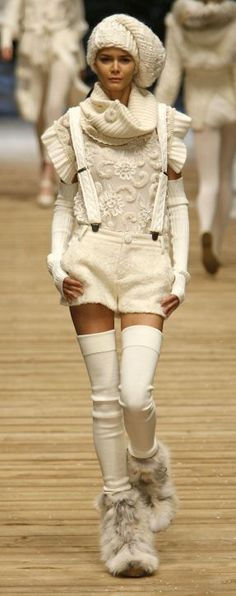 Dolce & Gabana white wool clothing and fox boots