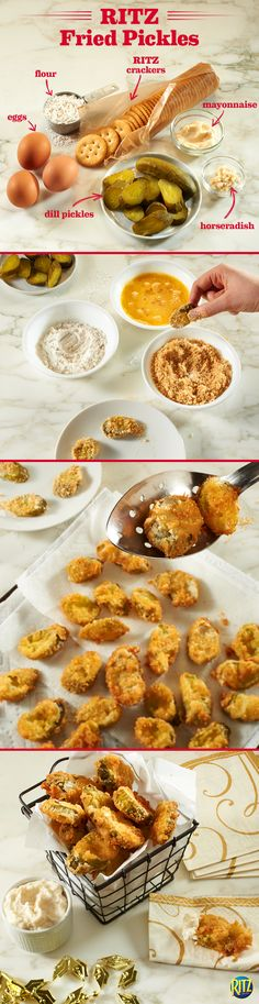 These RITZ Deep Fried Pickles are a great and easy appetizer. Replace traditional breadcrumbs with crumbled RITZ crackers to add a buttery taste and crunchy texture! Mix mayonnaise and horseradish for a side of savory dipping sauce. Finger Food Appetizers, Yummy Appetizers, Appetizer Recipes, Snack Recipes, Cooking Recipes, Finger Foods, Deep Fried Pickles, Fried Pickles Recipe, Tapas