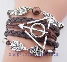 Brown harry potter bracelet,owls, informers,deathly hallow,angel wings,Brown snitch,Men bracelet,women jewelry,gift for harry potter fans  by LovelyGiftidea, $4.99