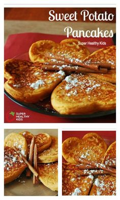 FOOD - Sweet Potato Pancakes. The only thing making these pancakes sweet is the sweet potato itself! YUMMY!! http://www.superhealthykids.com/yam-pancakes/