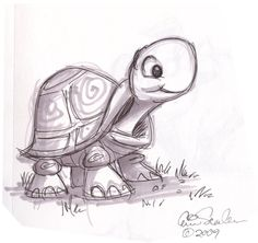 cartoon animal sketch | Cute Turtle