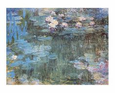 Claude Monet - White/purple waterlilies 9809