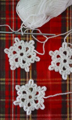 Snowflake decor -   Ch 8, join with a sl st to form a ring.    Rnd 1: Ch 3, work 1 dc into ring, ch 3, * work 2 dc into ring, ch 3 rep from * 4 times, join with a sl st into top of beg ch-3.    Rnd 2: Sl st into next dc and ch-3 sp, ch 1, * work 1 sc, ch 3, 1 sc, ch 6, 1 sc, ch 3, 1 sc into ch-3 sp, rep from * 5 times, join with a sl st into first sc.    Fasten off.