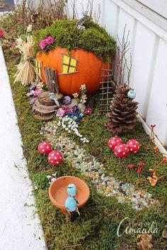 Fall and Halloween Fairy Garden Ideas & Supplies. Create your own fairy garden for Halloween by making a carved pumpkin fairy house. Fairy Garden Furniture, Fairy Garden Supplies, Autumn Fairy, Autumn Garden, Pumpkin Fairy House, Halloween Fairy, Fall Halloween, Halloween Garden Ideas, Halloween Pumpkins