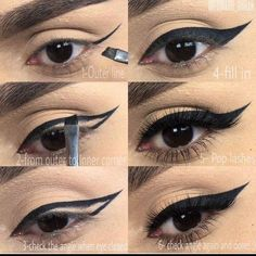 Best and my favorite eyeliner in black tutorial pictorial step by step for dramatic look. Everyday makeup routine for wing gel liner ~ by edward_urban (Makeup Step Eyeliner) Eyeliner Hacks, Eyeliner Styles, Eyeliner Brush, How To Apply Eyeliner, Eyeliner Makeup, Eyeliner Liquid, Eyeliner Pencil, Glitter Eyeshadow, Tips For Eyeliner