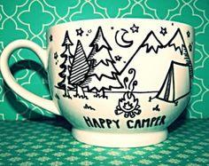 "Coffee Mug: ""Happy Camper"" Large18oz Hand Illustrated Coffee Cup"