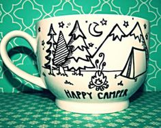 "Coffee Mug: ""Happy Camper"" Large18oz Hand Illustrated Coffee Cup"