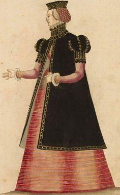 Kostüme der Männer und Frauen in Augsburg und Nürnberg, Deutschland, Europa, Orient und Afrika - BSB Cod.icon. 341 Augsburg 4. Viertel 16. Jh.