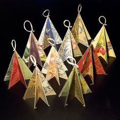 Ornaments made from vintage wallpaper -  could be done with scrapbooking paper.