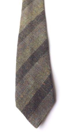 RETRO 100% WOOL NECK TIE by TWEEDMILL Green, Blue, Multi TWEED Weave FREE P&P