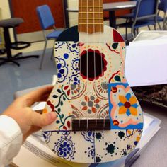 Ukulele I made for my sister who lives in Mexico! Talvera tiles on top!