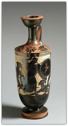 Terracotta lekythos (oil flask). Attributed to the Athena Painter. Period: Archaic. Date: 1st quarter of 5th century B.C. Culture: Greek, Attic. Medium: Terracotta; black-figure, white-ground.