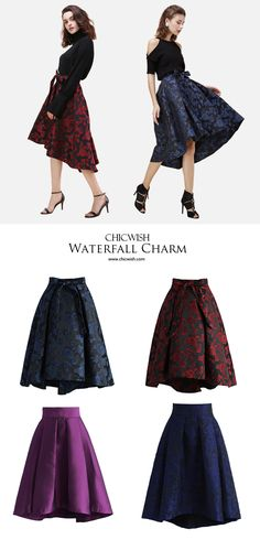 Gotta dash! dark floral print and girlish waterfall hemline. Offering elegance in a dash! Chicwish Dashing Rose Embossed Waterfall Skirt www.chicwish.com