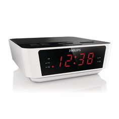 Phillips Digital Tuning Clock Radio. Start your day, your way!This stylish Philips clock radio looks nice and wakes you in time. It has built-in FM radio and gives you a choice of waking up to your favorite station or the buzzer.Wake up to sounds from your favorite radio station or a buzzer. Simply set the alarm on your Philips Clock radio to wake you with the radio station you last listened to or choose to wake up with a buzzer sound. When the wake up time is reached, your Philips...