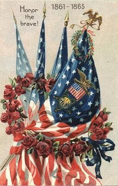 This postcard was part of a series to commemorate Decoration Day, the precursor to Memorial Day. Warshaw Collection of Business Americana, Civil War series, Archives Center, National Museum of American History. Vintage Cards, Vintage Postcards, Holiday Postcards, Vintage Flag, Vintage Ephemera, Holiday Cards, Fourth Of July, 4th Of July Wreath, Happy 4 Of July