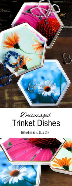 Make pretty jewelry dishes with decoupage medium and photos. Easy craft tutorial includes free printables.