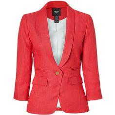 SMYTHE Blood Orange Shawl Collar Linen Blazer