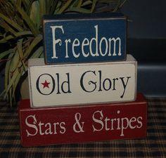 God Bless America Freedom Old Glory Stars & Stripes Americana Decor Summer Wood Sign Shelf Blocks Primitive Country Rustic Home Decor Gift