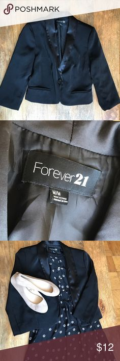 Black Tuxedo Jacket Stylish black cropped tuxedo jacket with shiny black lapels. Looks great over a dress or paired with a nice pants/blouse combo for a more formal look. Like New condition! Forever 21 Jackets & Coats