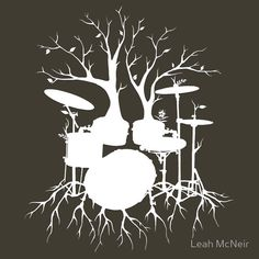"""'""""Live the Beat to the Tempo of Creation"""" ~ drum tree art , T-Shirt by Leah McNeir Trendy Tattoos, Cool Tattoos, Drummer Tattoo, Drums Quotes, Drums Art, Music Tattoos, Tatoos, Tree Art, Illustrations"""