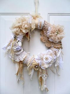 shabby wreath cottage wreath Christmas wreath floral wreath