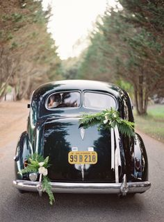 The getaway car: http://www.stylemepretty.com/2015/10/08/black-white-dos-pueblos-ranch-wedding/ | Photography: Jose Villa - http://josevilla.com/