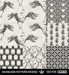 набор Абстрактные фоны, бесшовные Шаблоны моды, Векторные обои, Винтаж и монохромный ткани с танцами аист, графический птицы, цветы, листья и геометрические орнаменты, Япония стиль для дизайна — Стоковая иллюстрация #11960274
