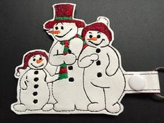 Snowman Family Key Fob  Machine Embroidery Pattern by WhimsyDolls