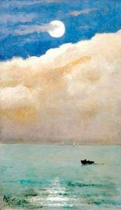 Alfred STEVENS Moonlit seascape at Cap Martin 1892
