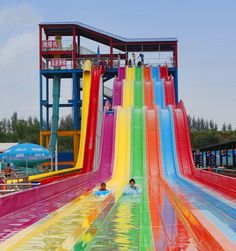 Rainbow Water Slide is the essential attraction for a water park. This side-by-side multi-lane racing water slide is the original match track, it takes riders have fun of head-to-head battle through a series of thrilling bumps, and who accelerates canrush to the finish line! Every waterpark should have this kind of racing water slide.