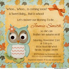 Fall Tree Owl Shower Invitation - Baby Cute Autumn Leaves