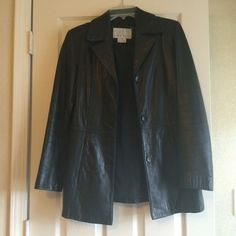 """SALE!!  Nine West Black Leather Jacket Beautiful black leather jacket from Nine West. Very slight wear around the neck. Otherwise perfect condition. 28.5"""" in length from shoulder. Nine West Jackets & Coats"""