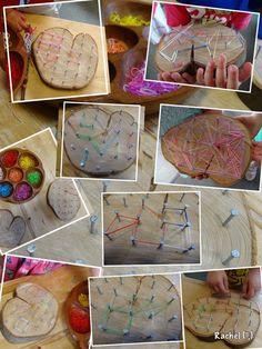 "Fine-motor fun with natural geoboards - from Rachel ("",) #indoorgardening"