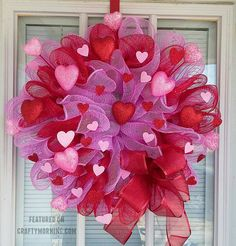 Cathy Hubbert Kollman's beautiful wreaths for Valentine's Day! Supplies Needed: 3 Rolls of deco mesh Pipe cleaners Sheer red ribbon 12 inch wire frame Table scatter hearts Valentines Decoration, Diy Valentines Day Wreath, Valentine Day Crafts, Valentine Ideas, Printable Valentine, Homemade Valentines, Saint Valentine, Wreath Crafts, Deco Mesh Wreaths
