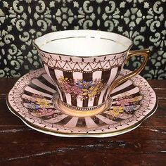 Pink and Brown Striped Floral Tea Cup and Saucer by Rosina Bone China England