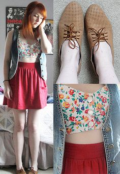 Amanda Shoe, Red Jersey Pocket Skirt, Denim Vest, Floral Bustier