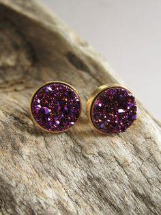 Plum Druzy Earrings Drusy Druzy Studs Druzy by julianneblumlo