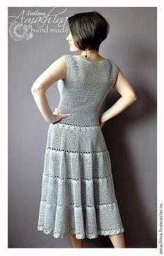 Knit Dress, Dress Skirt, Nice Dresses, Summer Dresses, Crochet Clothes, Knit Crochet, Crochet Patterns, Couture, Crochet Dresses