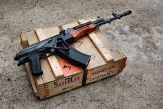 Polish Tantal and a crate of 5.45x39 ammo.
