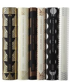 black, gold silver book spines