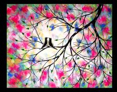Large Love Birds Painting Abstract Contemporary Modern Romance Silhouette Vivid Colorful 24x30 JMichael