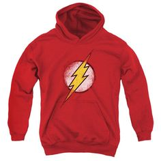 Behold the Flash - Destroyed Flash Logo Youth Hoodie. Now your little one can be part of the hype with this red colored, officially licensed youth hoodie made of 50% cotton/50% polyester. This youth h