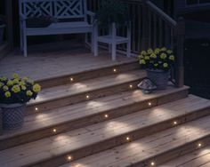 Lighting your deck stairs is an easy way to add to your outdoor decor, and it prevents tripping! #deck